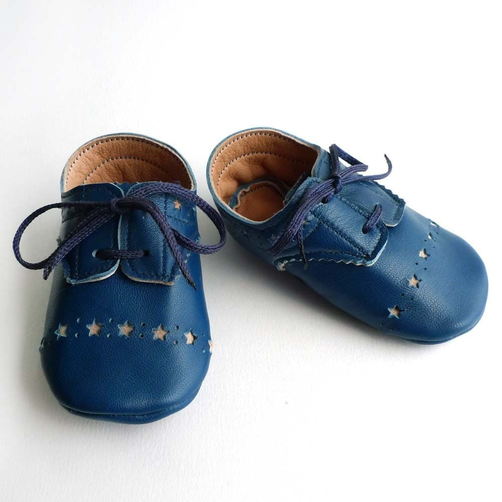 Leather Baby Boy Shoes Blue Brogued Dress Crib Ajalor
