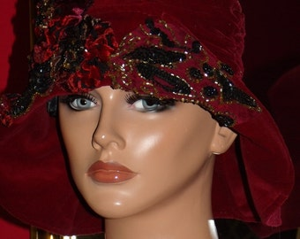 Burgundy Wine Flapper Hat Cloche 1920 style Personalized   Antique style  Velvet Headdress
