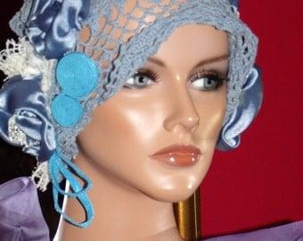 Flapper Hat Cloche 1920 style Personalized Unique Crochet Millinery Floral
