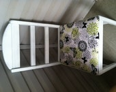 White Wooden Accent Chair With Butterfly Upholstery