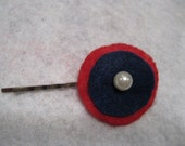 "SALE - 1.5"" to 2"" Felt Circle Patriotic Hair Pin with Pearl and Rhinestone Accents - SALE - Ready to Ship"