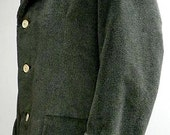 sage olive green, low-pile fur, semi-tailored men's workman's style jacket size 50 short