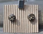 Small Textured Ceramic  Ear Studs - Cream Organic Pattern