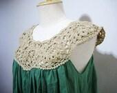 Natural Green Hand Crochet Cotton Dress