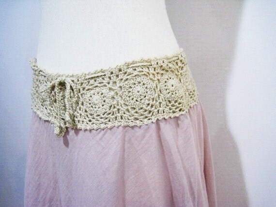 Summer Hand Crochet Cotton Long Skirt