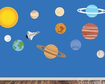 Solar System Wall Decal - Childrens REUSABLE Fabric Wall Decal - EXTRA LARGE