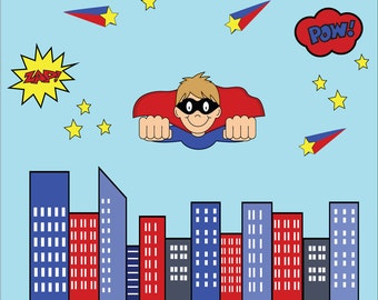 REUSABLE Superhero Wall Decal - Childrens Fabric Wall Decal -  extra large