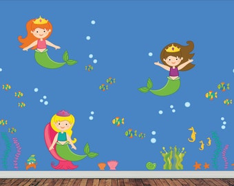 Reusable Non Toxic MERMAID Wall Decal Scene EXTRA LARGE