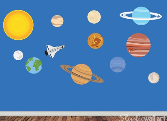 Solar System Wall Decal Childrens REUSABLE Fabric Wall Decal