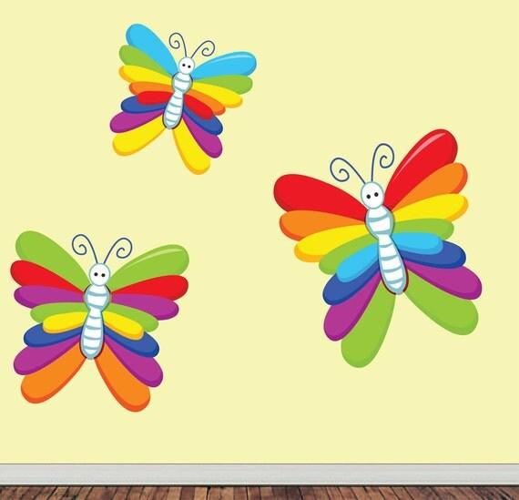 Butterflies Wall Decal - Childrens Fabric  Wall Decal - REUSABLE  REMOVABLE - MEDIUM