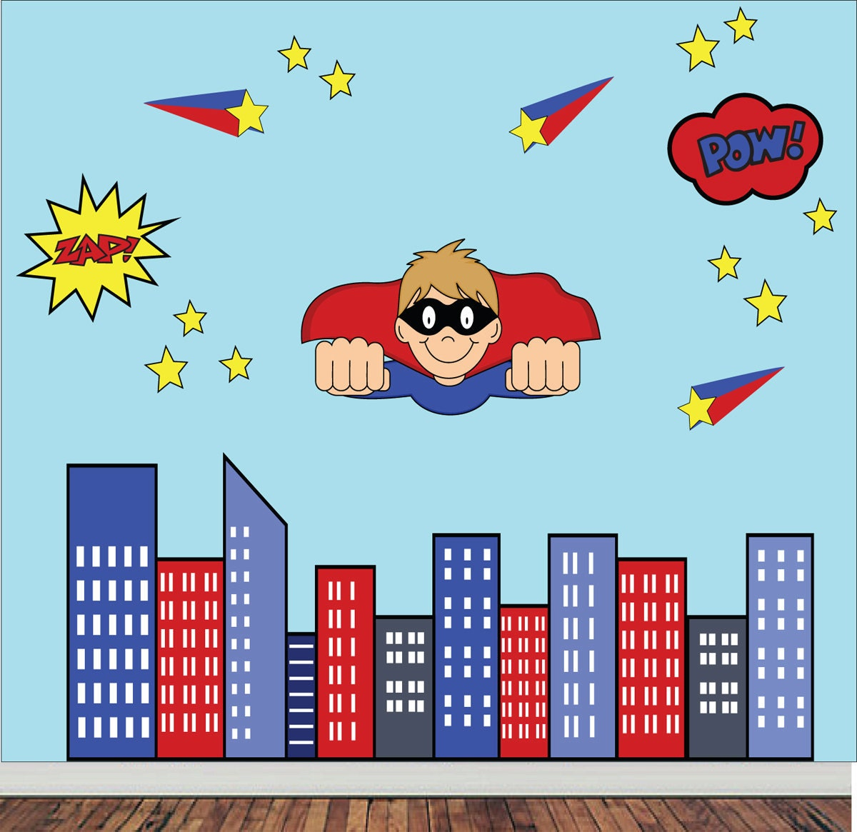 Reusable superhero wall decal childrens fabric wall decal zoom amipublicfo Choice Image