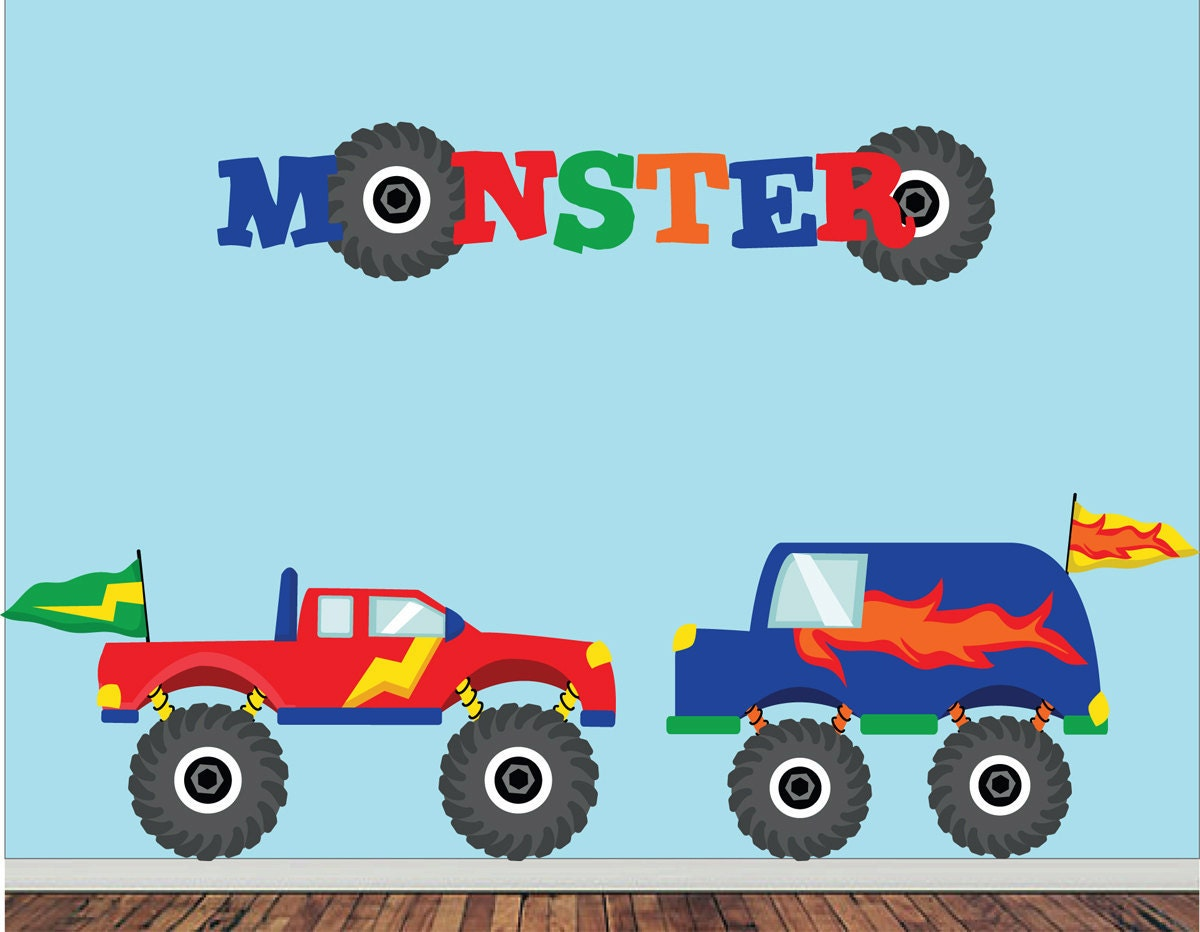 Monster trucks wall decal childrens fabric wall decal for Monster truck fabric