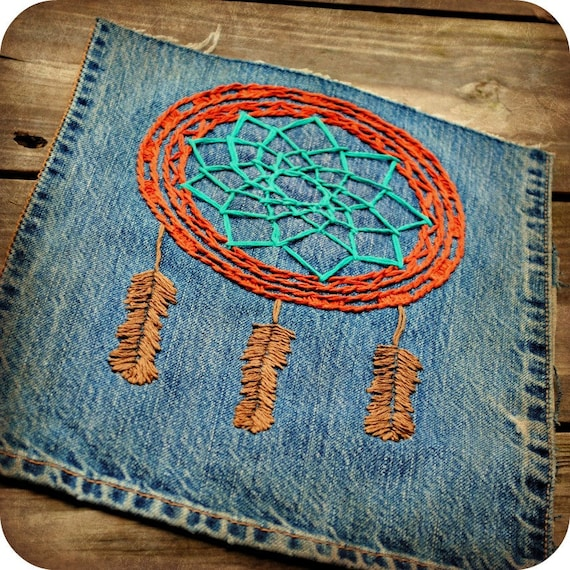 SALE was 48.  FREE SHIPPING.  a bohemian dream catcher embroidery.