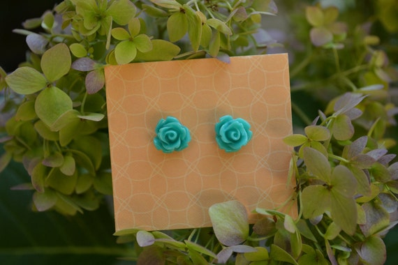 Turquoise  Rose Earring Studs