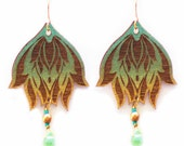 Lotus Earrings in Gold and Mint Green with Faceted Drops