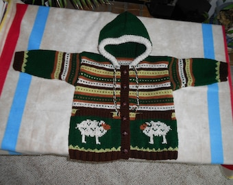 Hooded acrylic sheep sweater with pockets.