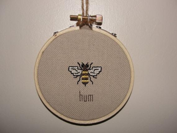 Bumble Bee Embroidery Hoop Art