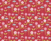 Fabric by the Yard Riley Blake Swirly Bird Garden Cranberry C7093