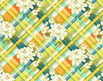 Fabric by the Yard Michael MIller, Sandi Henderson, Peony Plaid, SH4232-Lime  1 yd Limited Supply