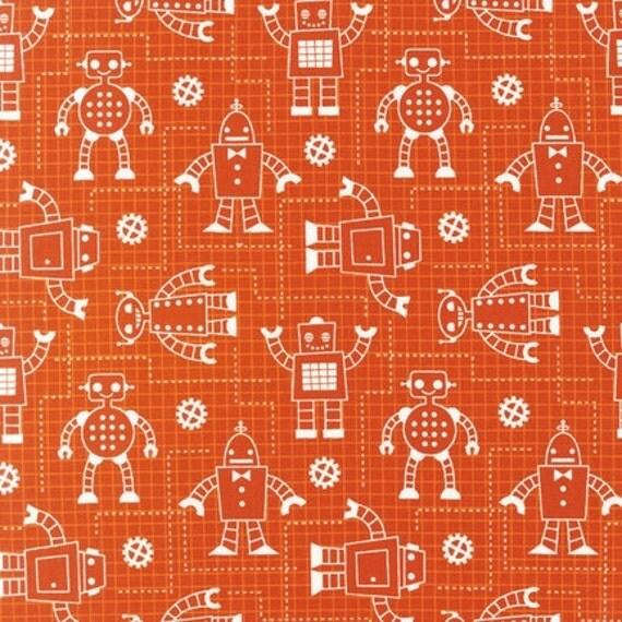 Robert Kaufman, Organic Cotton Robot Factory acy-11533-8 Orange 1 yard