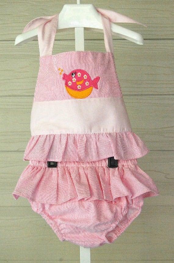 CLEARANCE SALE Girls Two-piece Bathing Suit, Size 7, pink seersucker, Applique