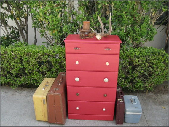 RESERVED FOR PRIVATEBUYER - Red Shabby Chic Refurbished 5 Drawer Solid Wood Dresser
