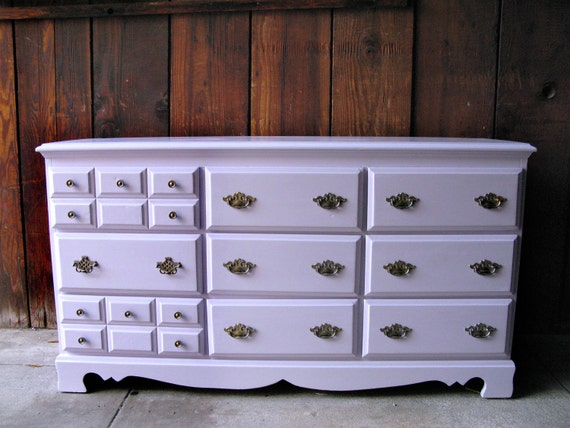 RESERVE for SELENE - SALE Vintage Lavender 9 drawer Dresser with Antique Victorian Hardware - Refurbished