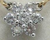 Ladies 14K Gold Diamond Cluster Pendant /w Chain