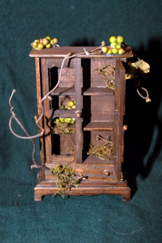 Magical miniature Fairy armoire or pantry for your Dollhouse or Garden 1/12 scale