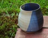 Blue Crackle Pot Handmade Ceramic Blue and White Glazed Flower Vase Stoneware Large Pottery