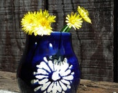 Delta Blue Vase Handmade Ceramic Pitcher Dark Blue Glazed Pottery Flower Pot Stoneware