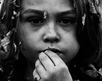 """Dramatic Portrait, Child, Black and White Photo, """"Leaf Lord"""" (with fall leaves)  (13x19)"""