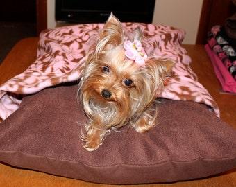 Pink Floral Fleece Dog Bed