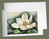 """Magnolia Blossom Set Of 3 All Occlasion Blank Note Cards. From Original Watercolor. Size 5.5""""x 8.5""""."""