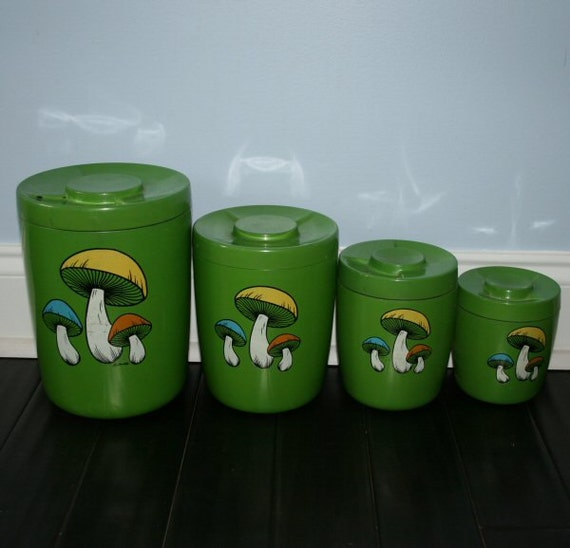 Items similar to 60s green mushroom kitchen canister set for 60s kitchen set