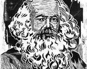 Karl Heinrich Marx Porträt - Holzschnitt Print - großes Poster