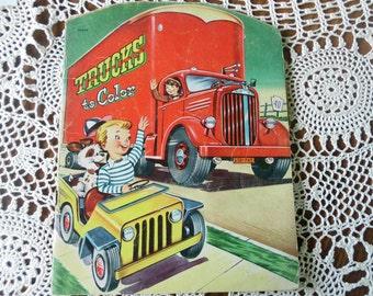 MCML 1950 Diesel Truck Jeep Wrangler Vintage Childs Coloring Book Big Monster Trucks