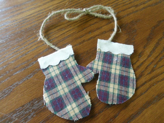 Farmhouse Country Primitive Rustic Burgandy Homespun Mitten Ornies Jute Bow Christmas Ornament Gift