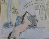 Stallion at the Waterfall Original Drawing by Laura