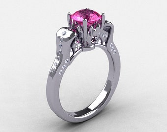 950 Platinum Pink Sapphire Diamond Wedding Ring, Engagement Ring NN101-PLATDPS