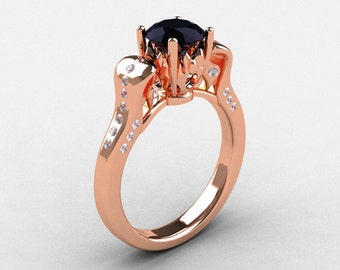 14K Rose Gold Black Diamond Wedding Ring, Engagement Ring NN101-14KRGDBD