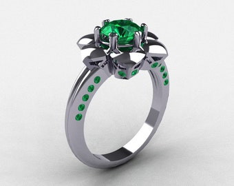 14k white gold emerald wedding ring engagement ring nn102 14kwgem - Emerald Wedding Ring