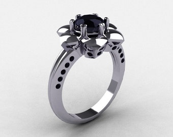 14K White Gold Black Diamond Wedding Ring, Engagement Ring NN102-14KWGBD