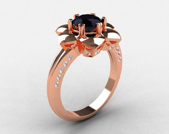 14K Rose Gold Black Diamond Wedding Ring, Engagement Ring NN102-14KRGDBD
