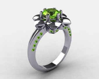 14K White Gold Peridot Wedding Ring, Engagement Ring NN102-14KWGP