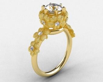 14K Yellow Gold White Sapphire Diamond Flower Wedding Ring, Engagement Ring NN109S-14KYGDWS