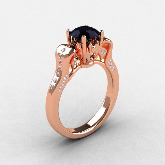 14K Rose Gold Black Diamond Wedding Ring Engagement Ring