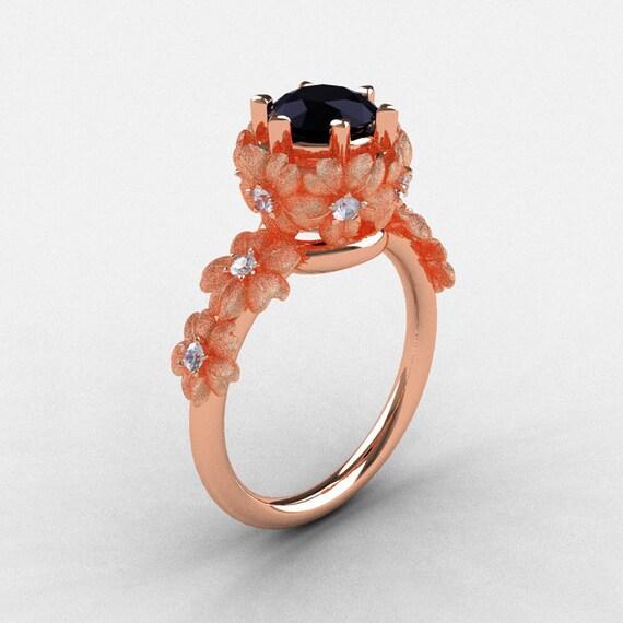 14K Rose Gold Black and White Diamond Flower Wedding Ring, Engagement Ring NN109S-14KRGDBD