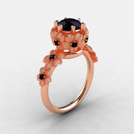 14K Rose Gold Black Diamond Flower Wedding Ring, Engagement Ring NN109S-14KRGBDD