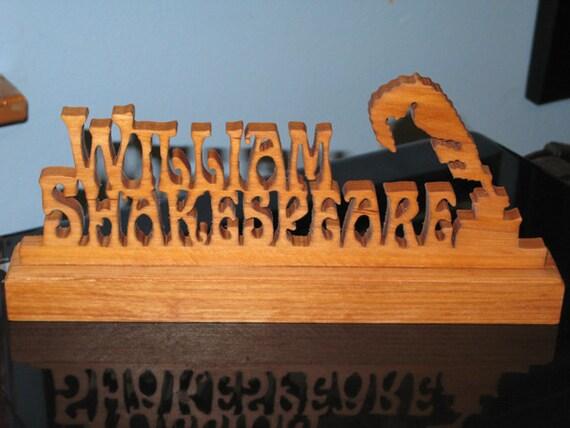 William Shakespeare Wood Desktop Sign